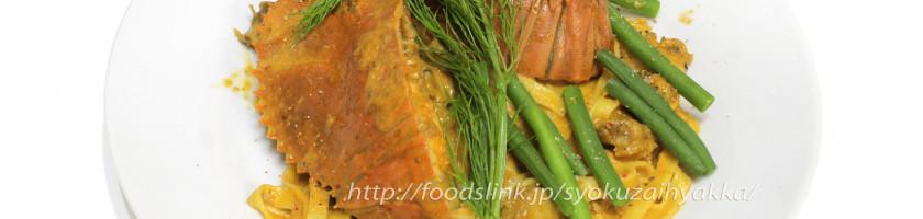 ウチワエビと緋扇貝のトマトクリームソース フェトチーネ